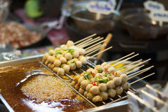 Meatball stand in Amphawa floating market, Thailand Stock Photos