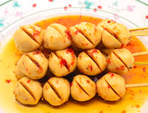 Meatball. Thai style meatball with chili spicy sauce Royalty Free Stock Photo