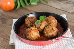 Meatball with tomato sauce in pan. Royalty Free Stock Images
