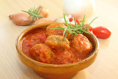 Meatball. In tomato sauce on the table Royalty Free Stock Photos
