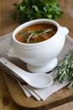 Meatball and tomato soup. Delicious meatball and tomato soup topped with rosemary Royalty Free Stock Photos