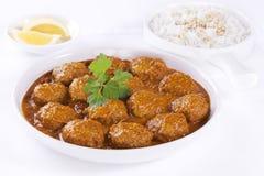 Meatballs в соусе с рисом Стоковые Изображения RF