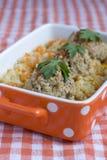 Meatballs говядины с braised капустой и морковью Стоковая Фотография RF