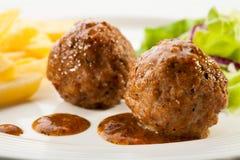meatballs зажарили в духовке Стоковые Изображения
