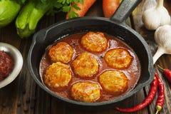 Meatballs с овощами стоковое фото rf