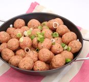 Meatballs. Some fresh, raw meatballs with onions in a pan Stock Images