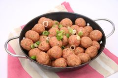 Meatballs. Some fresh, raw meatballs with onions in a pan Royalty Free Stock Photos
