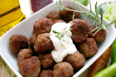 Meatballs. Fresh grec  meat balls in a bowl Stock Images