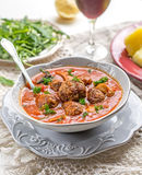 Meatballs albondigas in tomato sauce with mushrooms Royalty Free Stock Image