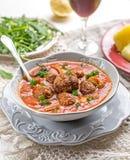 Meatballs albondigas in tomato sauce with mushrooms Royalty Free Stock Image