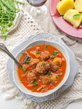 Meatballs albondigas in tomato sauce with mushrooms Royalty Free Stock Images