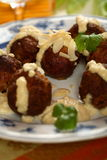 Meatballs with almonds dressin Stock Photos