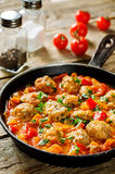 Meatballs baked with vegetables Stock Photography