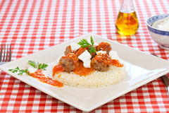 Meatballs of beef with rice and cheese