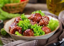 Meatballs with beef in sweet and sour sauce. stock photos