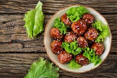 Meatballs with beef in sweet and sour sauce. stock photography