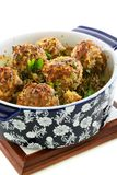 Meatballs in blue ceramic pot. Royalty Free Stock Photo