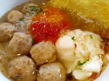 Meatballs Boiled Egg. With noodles and sauce were delicious Stock Image