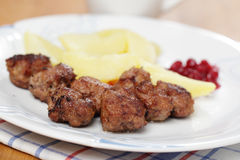Meatballs with boiled potato and jam Royalty Free Stock Photography