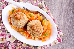 Meatballs with braised cabbage Stock Photo
