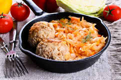 Meatballs with braised cabbage Royalty Free Stock Photos