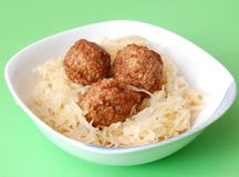 Meatballs with cabbage Royalty Free Stock Photo