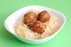 Meatballs with cabbage Royalty Free Stock Photography