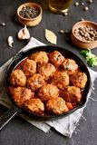 Meatballs in cast iron pan Royalty Free Stock Photos