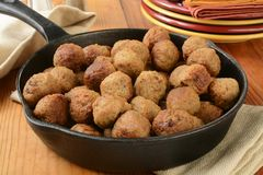 Meatballs in a cast iron skillet Royalty Free Stock Photo