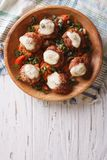 Meatballs with cheese in bowl. vertical top view Stock Photography