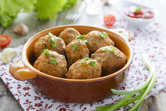 Meatballs and chive. On table royalty free stock photography