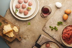 Meatballs cooking Stock Image