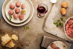 Meatballs cooking Royalty Free Stock Photos