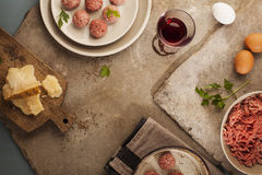 Meatballs cooking Stock Photography