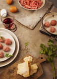 Meatballs cooking Stock Photos
