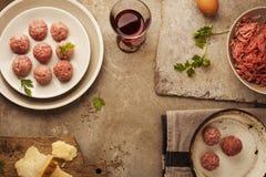 Meatballs cooking Stock Photo