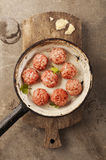 Meatballs cooking Royalty Free Stock Photo