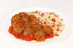 Meatballs and Couscous Royalty Free Stock Images