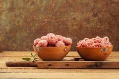 Meatballs crus Imagens de Stock
