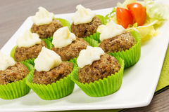 Meatballs cupcakes Royalty Free Stock Image