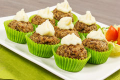 Meatballs cupcakes Royalty Free Stock Photo