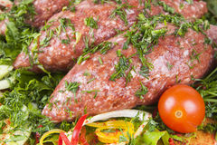 Meatballs cutlet with herbs. Fresh raw  meatballs cutlet with herbs Royalty Free Stock Image