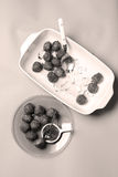 Meatballs for dinner. Many meatballs and some jam in a plate, Swedish dish royalty free stock images