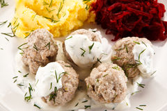 Meatballs dinner Royalty Free Stock Images