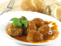 Meatballs dish with bread Stock Photography
