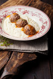Meatballs, duck meat, with apple sauce and mashed celery, potato Royalty Free Stock Image