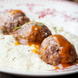 Meatballs, duck meat, with apple sauce and mashed celery, potato Royalty Free Stock Photography