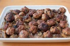 Meatballs with eggplant Stock Photos