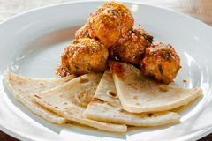 Meatballs with flatbread Royalty Free Stock Images