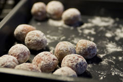 Meatballs in flour Royalty Free Stock Photography